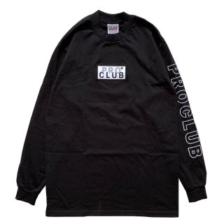 PRO CLUB HEAVYWEIGHT BOX LOGO LONG SLEEVE TEE BLACK