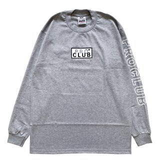 PRO CLUB HEAVYWEIGHT BOX LOGO LONG SLEEVE TEE GREY