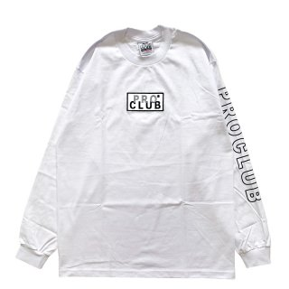 PRO CLUB HEAVYWEIGHT BOX LOGO LONG SLEEVE TEE WHITE