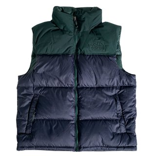 THE NORTH FACE ECO NUPTSE DOWN VEST AVIATOR BLUE SCARAB GREEN