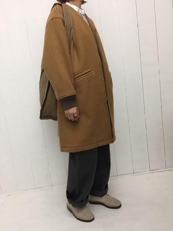 二重織メルトン ノーカラー カデットコート