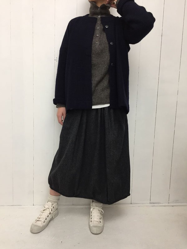 ウール混ツイード ギャザースカート