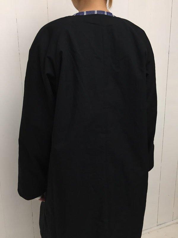 コットンナイロン 高密度ギャバ リバーシブルノーカラーコート