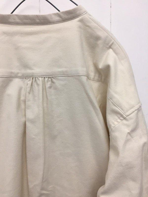 コットンフランネル バンドカラーシャツ