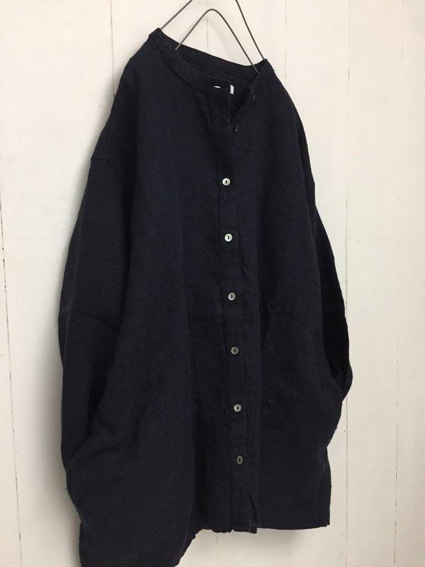 リネンツイルワッシャー ノーカラーシャツジャケット