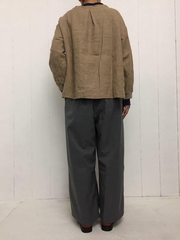1/40 リネン起毛 袖口リブ ダーツプルオーバー