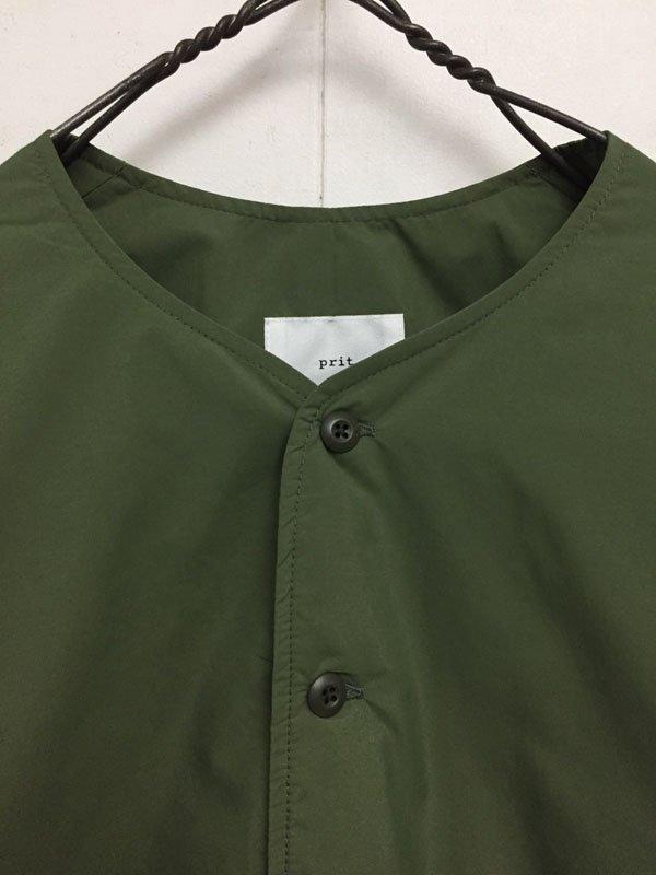 ナイロンタイプライター ボンディング ノーカラーシャツ