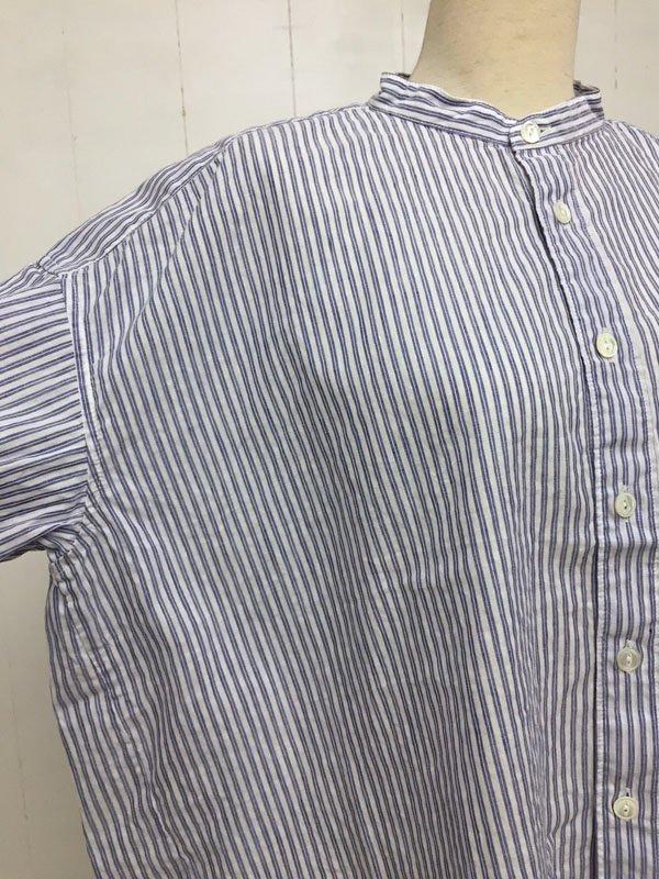 コットンリネン バレストライプ 5分袖 スタンドカラーワイドシャツ