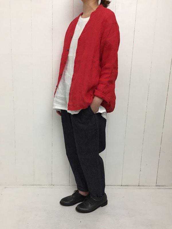 60/1 リネン 裾ゴムカーディガン