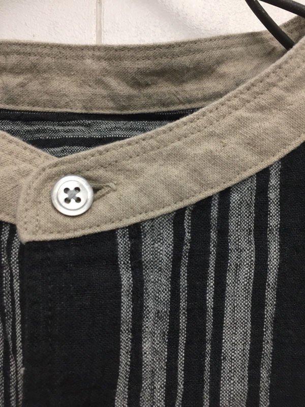 14/1 強撚リネン ストライプ 5分袖スタンドカラー クレリックビッグシャツ