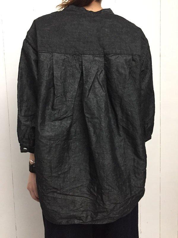コットンリネンダンガリー 7分袖 スタンドカラーAラインシャツ