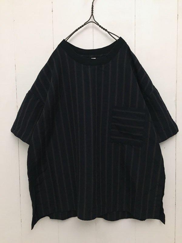 コットンリネン 交織ストライプ 5分袖 衿リブクルーネック プルオーバー