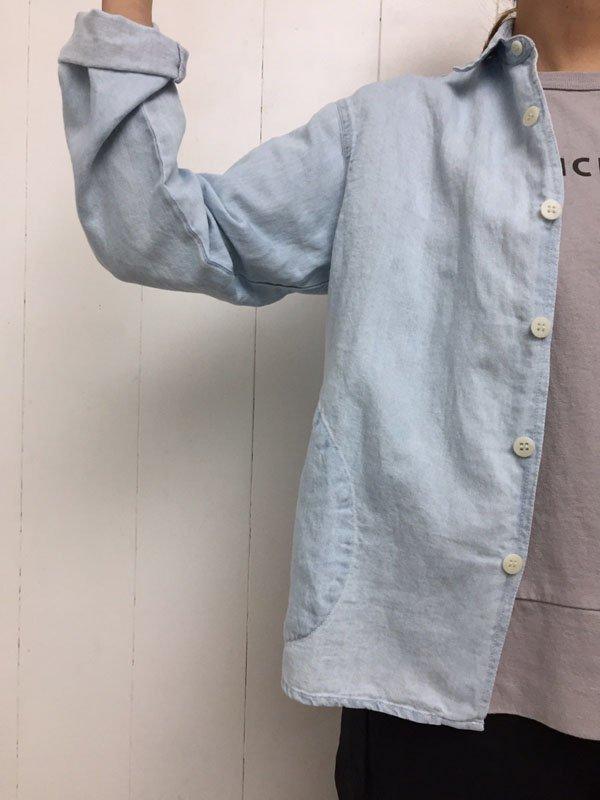 コットンリネンデニム フォールカラーシャツ