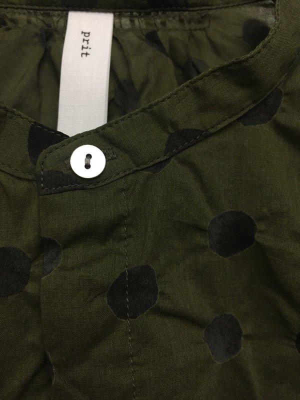 80/1 ローン水玉塩縮プリント 7分袖 スタンドカラー比翼シャツ
