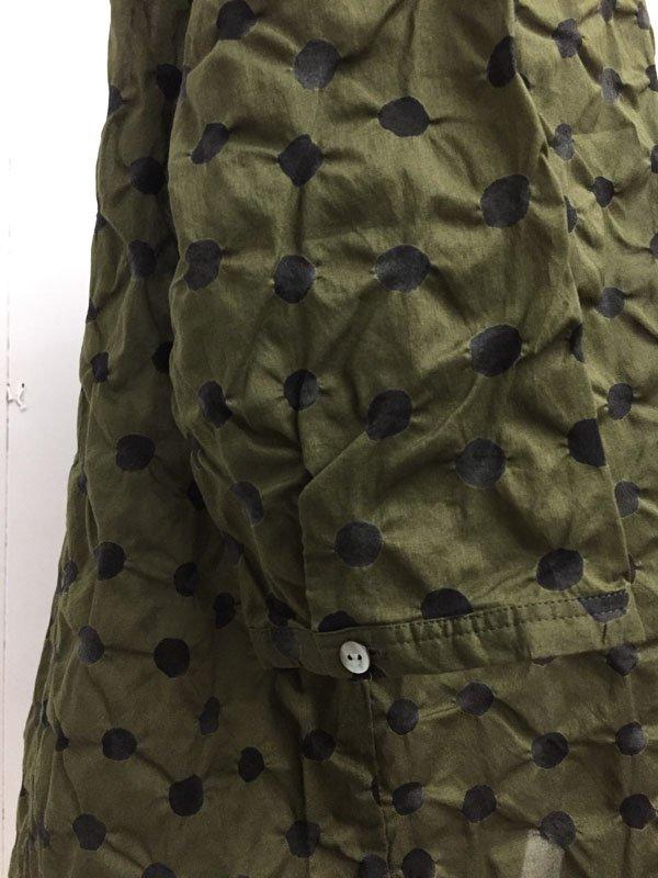 80/1 ローン 水玉塩縮プリント 7分袖 スタンドカラー プルオーバーチュニック 比翼シャツ