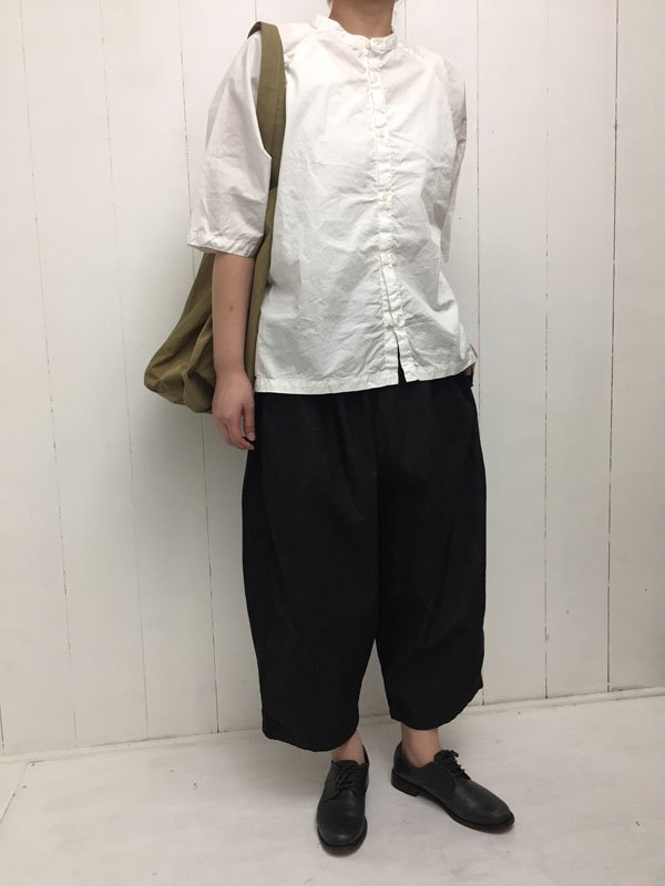 100/1 高密度ツイル 5分袖 ドルマンスリーブ スタンドカラーシャツ