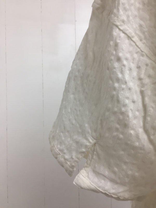 70/1 リネン織りサッカー 5分袖 ヘンリーネック ワンボタンシャツ