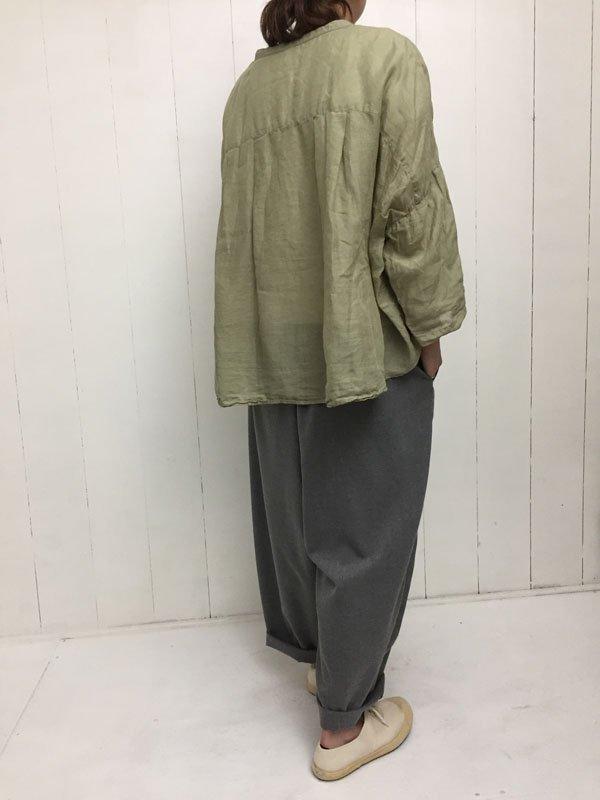 160/1 ラミー 9分袖 スタンドカラービッグシャツ