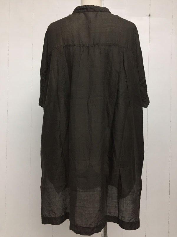 160/1 ラミー 5分袖 スタンドカラー チュニックシャツ
