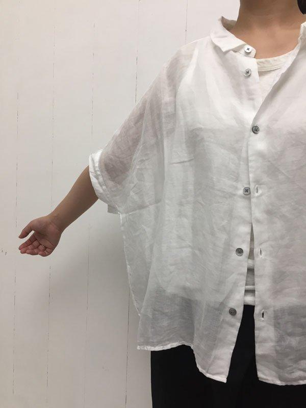 100/1 ラミー 5分袖 レギュラーカラービッグシャツ