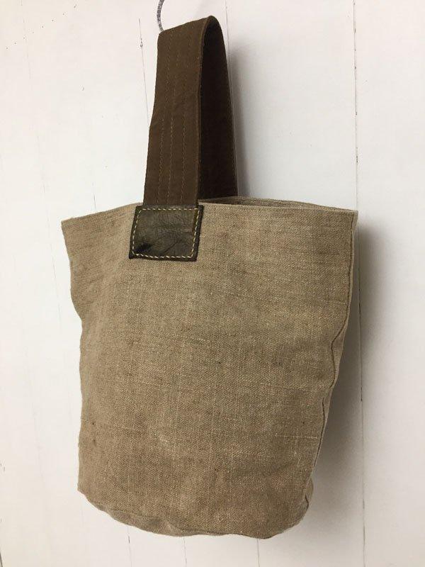 厚手麻 ワンハンドルバッグ
