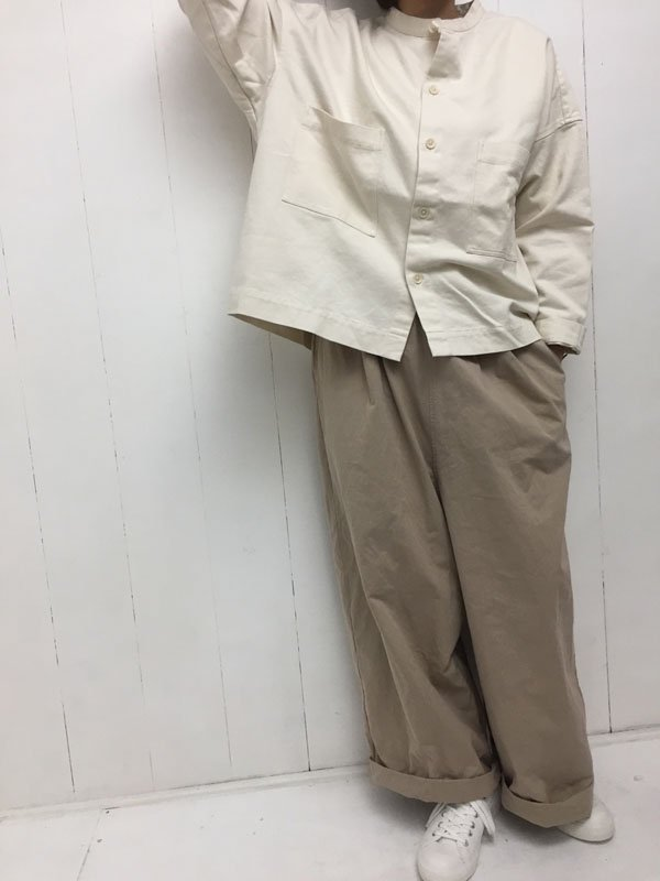 30/1 引き揃えツイル スタンドカラー ビッグシャツ