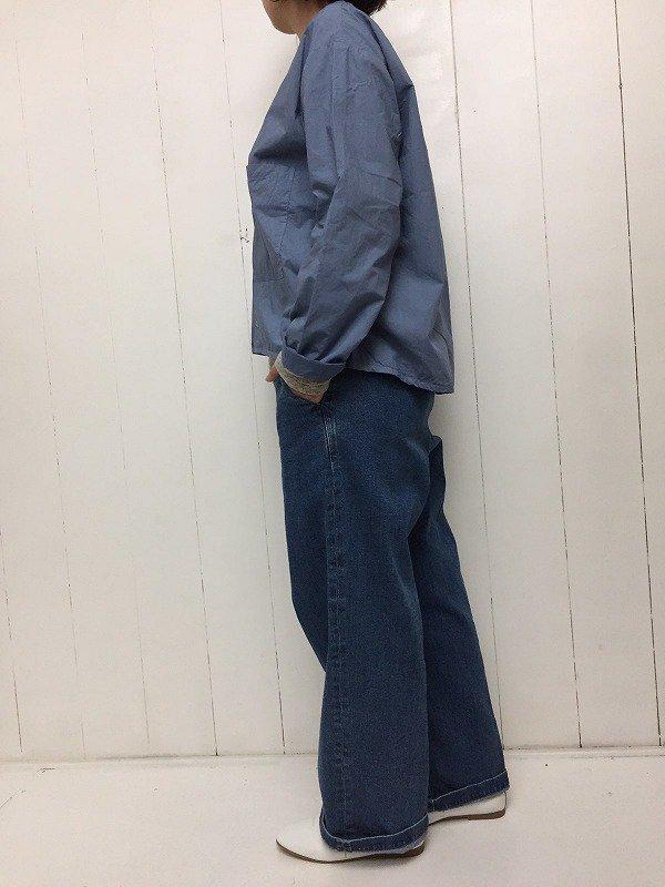 80/1 タイプライター × 80/1 ローン 水溶性ボンディング ノーカラーシャツ