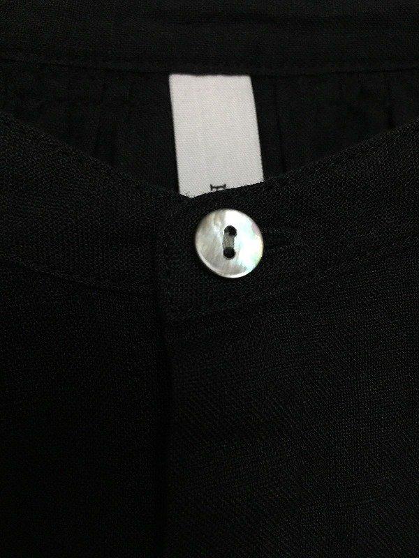 60/1 フレンチリネン平織 8分袖 スタンドカラー ギャザーブラウス