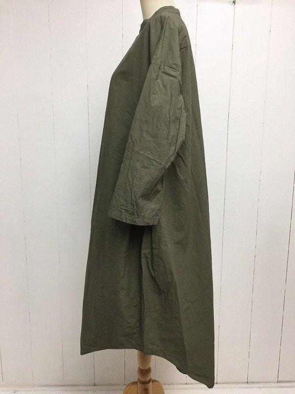 80/1 タイプライター 近江晒加工 スタンドカラー サイドタックワンピース