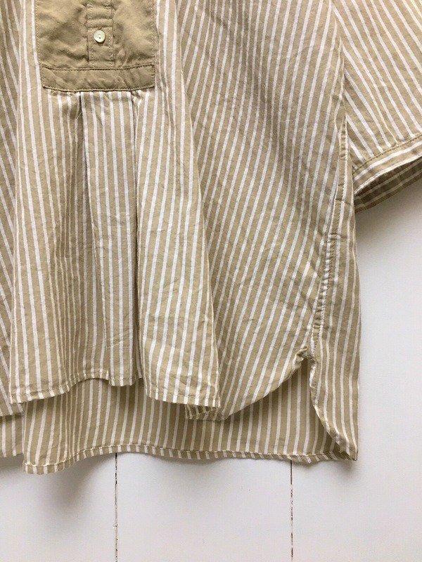 50/1 綿麻ストライプ × 50/1 綿麻シャンブレー 5分袖 バンドカラープルオーバーシャツ