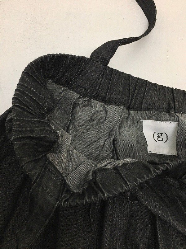 ブラックデニム ワンショルダー ロングスカート