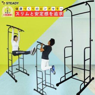 STEADY(ステディ) ぶら下がり健康器 安定強化版 懸垂マシン チンニングスタンド ディップス プッシュアップバー ST101 [メーカー1年保証]