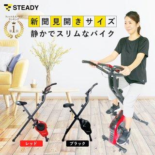 [5/10以降発送開始] STEADY(ステディ) エアロバイク 折りたたみ式小型フィットネスバイク 静音マグネッ式トベルト 心拍数計測 負荷8段階 電源不要 ST102 [メーカー1年保証]