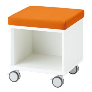 PLUS SQ スツールワゴン SQ−044SW クッション:オレンジ