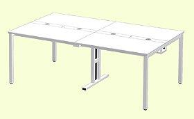 Garage フリーアドレスデスク 多人数用デスク MP−2012SS 幅200cm 白 ホワイト