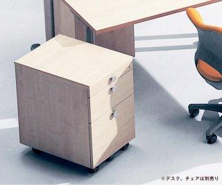 Garage fantoni/ファントーニ/オフィス 木製ワゴン 白木 3段 鍵付き 幅42 奥行57 高さ62.9cm