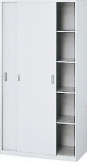 l5180s 635-763 Garage 収納家具 スチール製 システム収納L5 収納庫 引違い保管庫 幅90 奥行45 高さ177cm