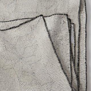 LIVING BLUE カンタキルト | 白地に黒糸ステッチ