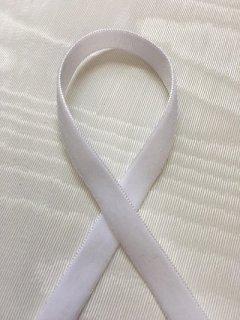 片面ベルベットリボン(1�幅) ホワイト