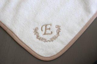 タオルハンカチ(ホワイト×ベージュ) E