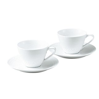 ノリタケ リズモホワイト ティー・コーヒー碗皿ペア P5389L/1610