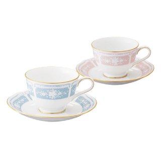 ノリタケ レースウッドゴールド ティー・コーヒー碗皿ペア(ブルー・ピンク)Y6578A/1507-14 0128