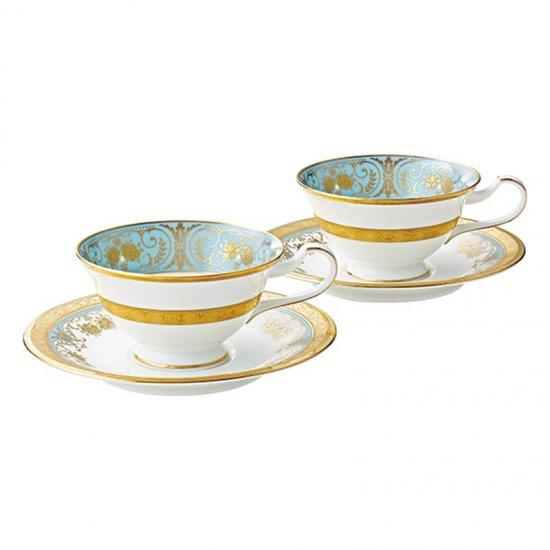 P59587/4857ノリタケ ジョージアンターコイズ ティー・コーヒー碗皿ペア P59587/4857 0128