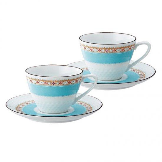 P5389L/1645ノリタケ ハミングブルー ティー・コーヒー碗皿ペア P5389L/1645