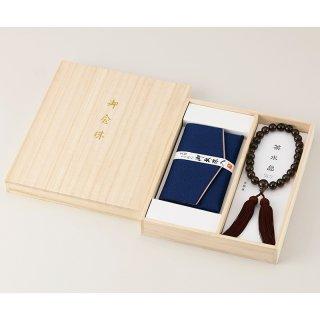 茶水晶京念珠・念珠袋セット 男性用  401-1505 1801