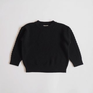 moss stitch sweater / black / eLfinFolk
