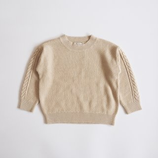 moss stitch sweater / ivory / eLfinFolk (110,130)