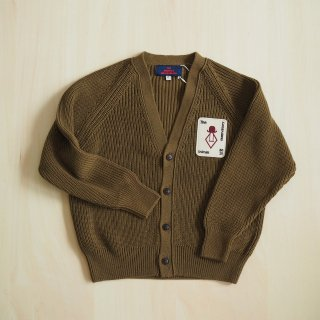 plain racoon kids cardigan / military green / The Animals Obserbatory