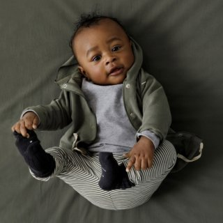 baby hooded cardigan / moss / GRAY LABEL
