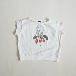 tocoto vintage<br>strawberry plant drawing T-shirt<br>off-white<br>(2y,3y,4y,6y)